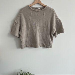 Zara - Drop Shoulder Top - Beige / Tan